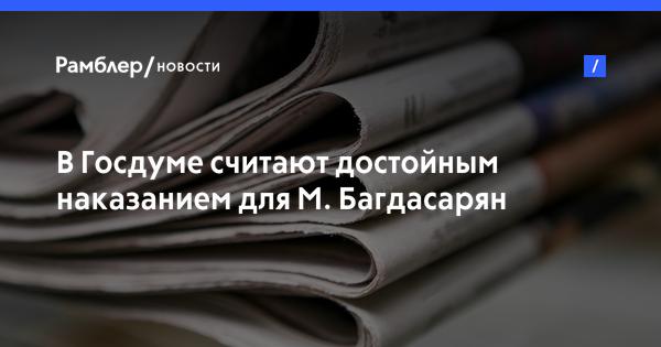 В Госдуме считают достойным наказанием для М. Багдасарян работу сиделкой для лежачих больных